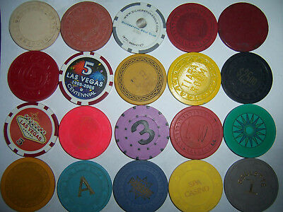20 LOT CASINO POKER CHIPS L mold lg crown VALUABLE CHIP GAME RARE OBS FREE TUBE