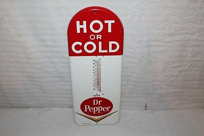 "Vintage 1950's Dr Pepper Soda Pop Gas Oil 16"" Metal Thermometer Sign~Nice"