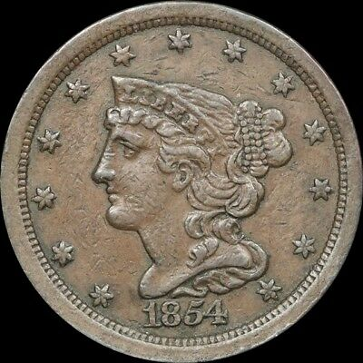 1854 Half Cent in XF Condition