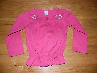 Girl's Janie & Jack Shirt sz 2T Long Sleeve Pink w/Embroidered flowers EXC