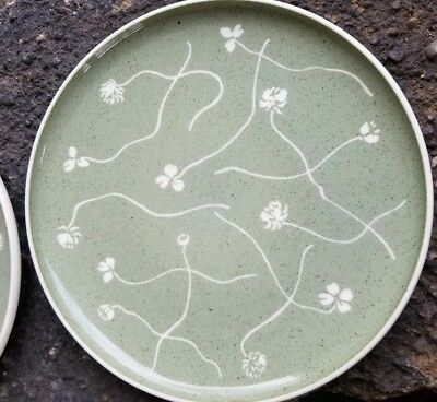 60s Mid Century Russel  Wright Harkerware White Clover Green 3  Plates 10""