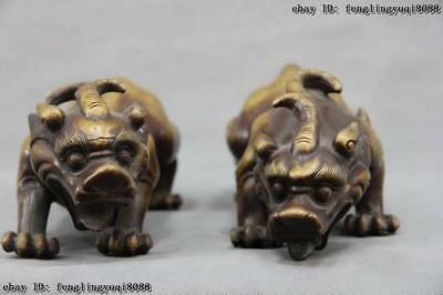 Chinese Royal Copper Bronze Fengshui Evil Foo Dog Lion kylin Brave troops Pair
