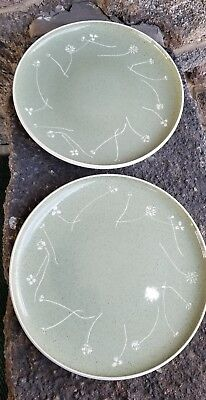 60s Mid Century Russel  Wright Harkerware White Clover Green 2  Plates 11""