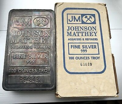 Genuine 100 oz Silver Bar Rare Johnson Matthey JM Pressed w/Box & Serial #