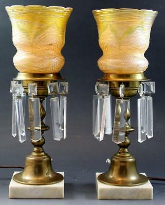 Pr 1920s Brass Table Lamps w/ Durand Threaded Feather Art Glass Shades & Prisms