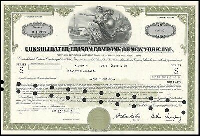 1976 Consolidated Edison $1000 Company of New York - ConEd - Bond WYSIWYG VG+
