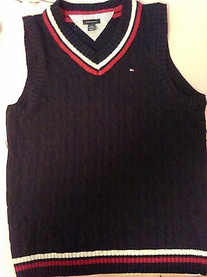 Tommy Hilfiger Cotton Navy w/Burgundy, White Pinstripe Cable Knit Sweater Vest L