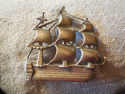 Vintage Brass Sailing Ship Door Knocker