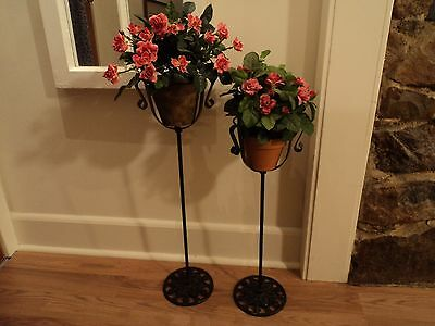 2 Matching Antique Wrought Iron Metal Plant Stands CAST LEAF vtg victorian RARE