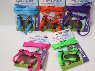 Large rabbit adjustable nylon walking harness & lead set with bell 20-37cm chest