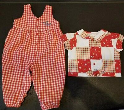 Vintage 18month size All Mine shirt and Oshkosh overalls red checkers red plaid