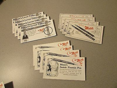 12 Vintage ink blotter cards unused Moore's Fountain Pen advertising