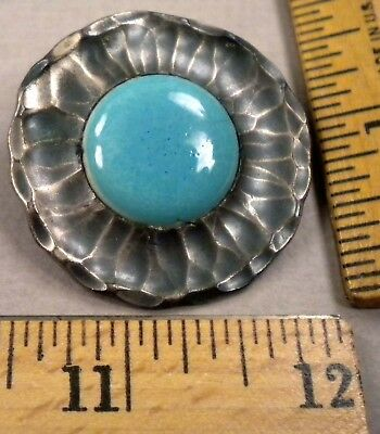 RUSKIN POTTERY in METAL FLOWER BUTTON, Early 1900s Nice Color, Signed, Large