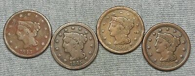 Lot Of 4 Lower Grade Braided Hair Large Cents - 1843, 1845, 1850 & 1854