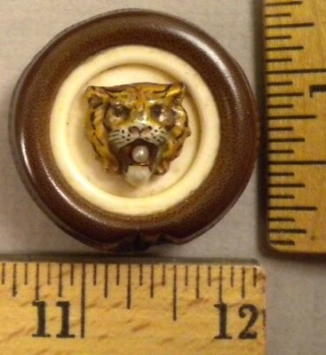 TIGER HEAD BUTTON, 1800s Nice Multi-Material Design, Wood, Pearl, Metal, LARGE
