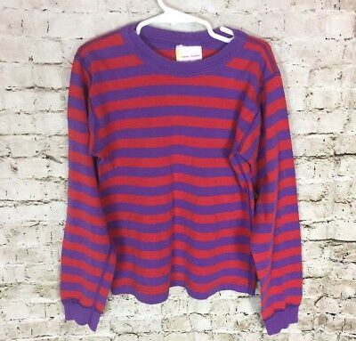 Hanna Andersson Striped Pajama Top Size 130 8 Purple Red Stripes Cotton PJ Shirt