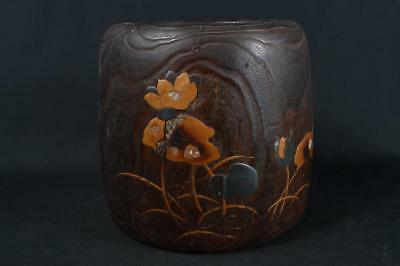 K1550: Japanese XF Old Wooden Lacquer ware CHACOAL BRAZIER Hibachi