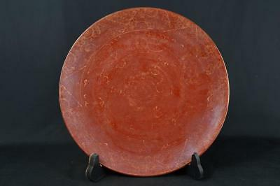 K1540: Japanese Old Arita-ware Red glaze Gold paint ORNAMENTAL PLATE/Dish