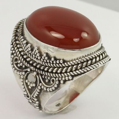 925 Sterling Silver Ethnic Fashion Ring Size US 7 Real CARNELIAN Oval Gemstone