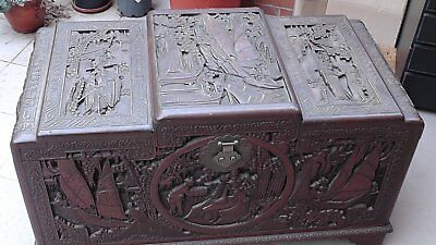 Hand-Carved Chinese Camphor Wood Large Chest Antique | From Dongyang in Zhejiang