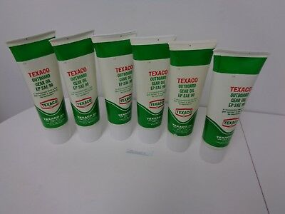 Texaco 6 Piece Lot Of Outboard Gear Oil Ep Sae 90 Tubes