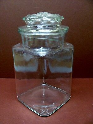"Vintage Large Square Apothecary Jar with Lid Clear Glass 9"" Candy Drug Store"