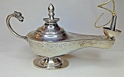 Antique/Vintage Arabic hand made Silver real Oil Lamp with Hallmarks