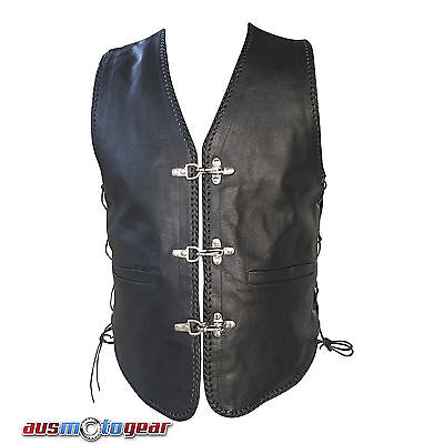 Mens Motorcycle Leather Vest Waist coat Hand Braided Bikers Vest