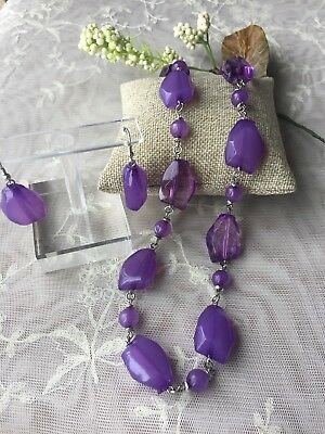 STUNNING VINTAGE ESTATE PURPLE BEADED NECKLACE EARRING Statement Fashion Jewelry