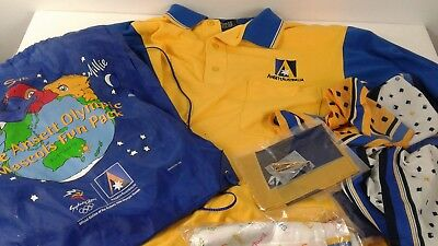 Mixed lot vintage Ansett Airlines items shirt/scarf/pin/cards Olympic games bag