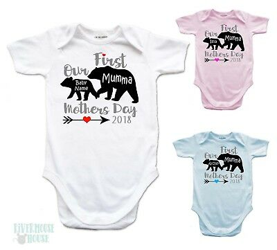 PERSONALISED First Mothers Day MUMMA - BABY BEAR Romper Custom Onepiece Bodysuit