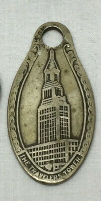 "Vtg Key Chain Advertising Travelers Insurance Travelers Tower CT 1 3/4"" X 7/8"""