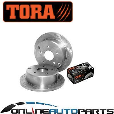 2 Rear Slotted + Dimpled Disc Rotors + Brake Pads Commodore VT VX VU VY VZ V6 V8