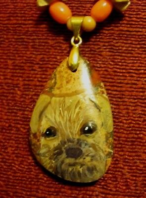 Border Terrier hand pianted on small teardrop pendant/bead/necklace