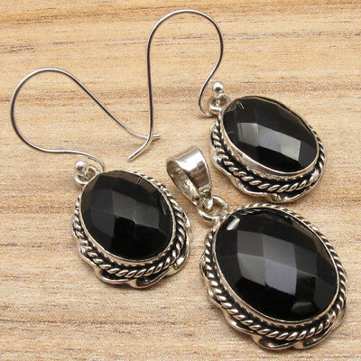 925 Silver Plated  Earrings & Pendant SET, Real BLACK ONYX & Other Stone Choices