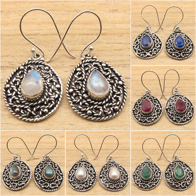 925 Silver Plated Drop MOONSTONE & Other Gemstone Variation OXIDIZED Earrings