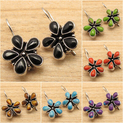 925 Silver Plated Multistone Antique Look FLOWER Earrings Brand New