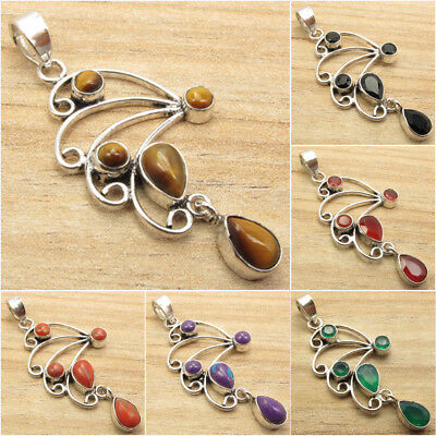 925 Silver Plated Pendant ! TIGER'S EYE & Other Gems Variation
