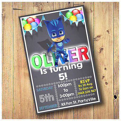 Personalised PJ Masks Cat Boy Birthday Party Invitations