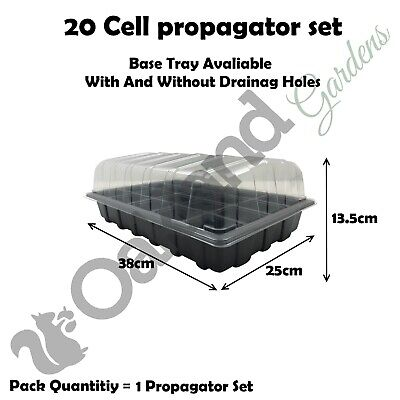1 X Full Size Propagator Set, Lids Seed Trays + 20 Cell Inserts With or No Holes