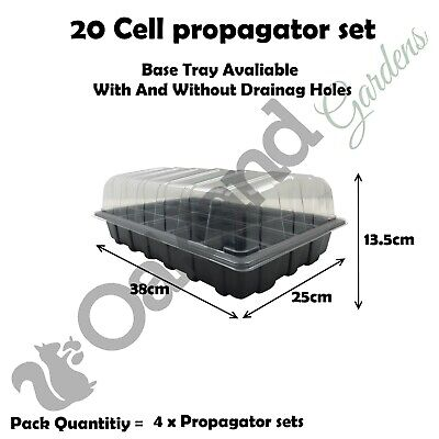4 X Full Size Propagator Set, Lids Seed Trays + 20 Cell Inserts With or No Holes