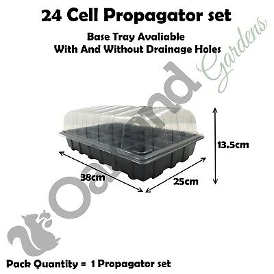 1 X Full Size Propagator Set Lids Seed Trays + 24 Cell Inserts With or No Holes