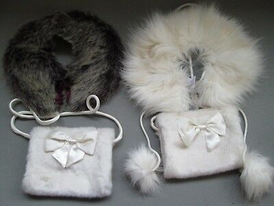 Two Girls Wedding Ivory Hand Muffs With Two Different Styled Shoulder Wraps