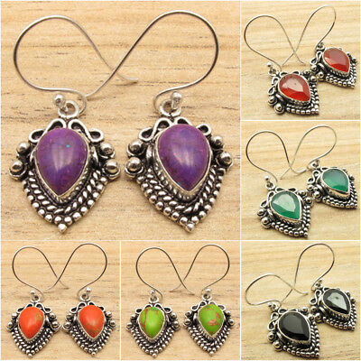 925 Silver Plated Antique Look Oxidized Earrings Anniversary Gift Pretty Bijoux