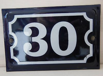 Antique French Dark Blue Enamel Porcelain Door House Gate Number Sign Plate 30