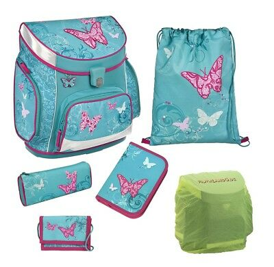 Butterfly Schulranzen Set 6tlg Federmappe Scooli Campus Up Schmetterlinge türkis