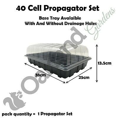 1 X Full Size Propagator Set Lids Seed Trays + 40 Cell Inserts With or No Holes