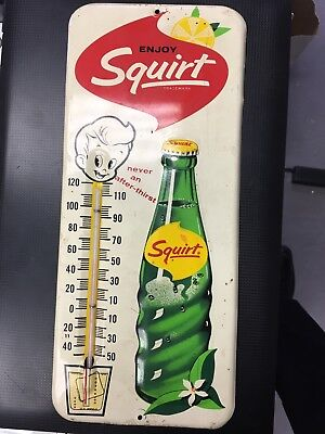 Vintage 1963 Squirt Soda Pop Metal Sign Thermometer WORKS
