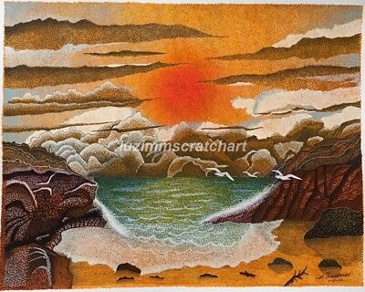 "$60.00 OFF - Nature Caribbean Sunset ORIGINAL Pointillism 11""x14""  by LVZ"
