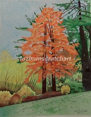 "$60.00 OFF - Nature Country Scene Fall ORIGINAL Pointillism 11""x14""  by LVZ"